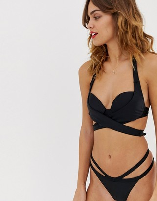 South Beach moulded cup wrap around bikini set-Black