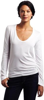Splendid Women's Light Jersey Long Sleeve Scoop Neck Tee White X-Large