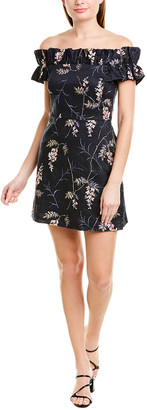 Rebecca Taylor Ivie Embroidered Linen Mini Dress