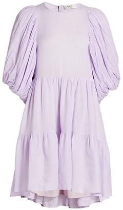 Sea Puff-Sleeve Tiered Linen-Blend Dress