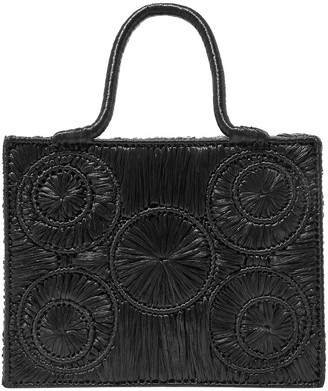 Sophie Anderson Leather-trimmed Raffia Tote