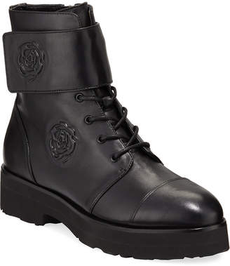 Taryn Rose Collection Valentina Leather Rose Combat Booties