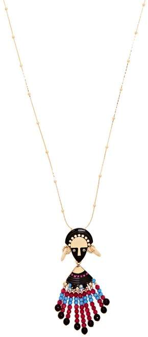 Etro Bead And Crystal Embellished Pendant Necklace - Womens - Pink