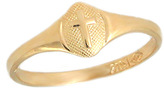 Ice Kids 14K Yellow Gold Cross Ring For Boys And Girls (size 2.5)