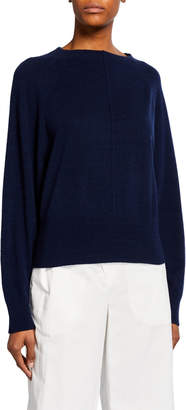 Vince Crewneck Center-Seam Raglan-Sleeve Cashmere Top