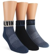 Calvin Klein Logo Cuff Ankle Socks, Pack of 3