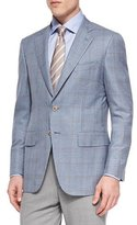 Isaia Check Jacket with Contrast Deco, Blue/Tan
