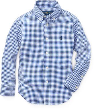 Ralph Lauren Kids Poplin Woven Gingham Sport Shirt, Size 2-3