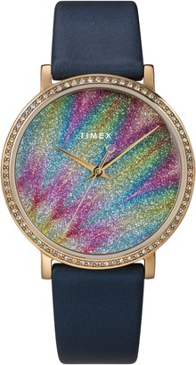Timex Celestial Opulence Northern Lights Leather Band Watch, 38mm