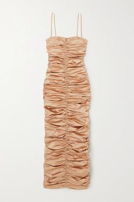 Georgia Alice Eva Ruched Satin Maxi Dress - Sand
