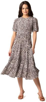 Forever New Betty Printed Midi Dress Chestnut