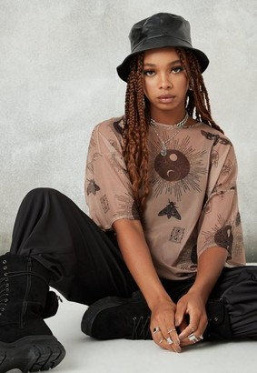 Missguided Brown Graphic Print Mesh Drop Shoulder Oversized T Shirt