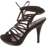 Halston Suede Caged Sandals