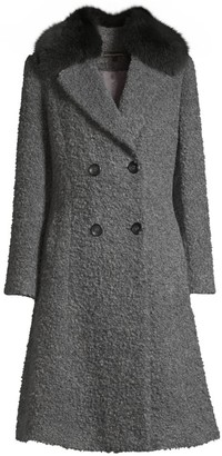 Sofia Cashmere Fox Fur Collar Princess Seam Coat
