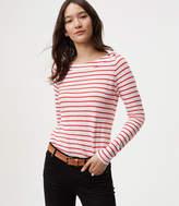 LOFT Striped Shoulder Button Tee