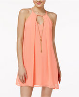 As U Wish Juniors' Necklace Chiffon Shift Dress
