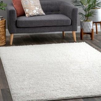 "Wayfair Custom Rugs Terese White Area Rug Rug Size: Rectangle 8'10"" x 12', Pile Height: 1.2"" Plush"
