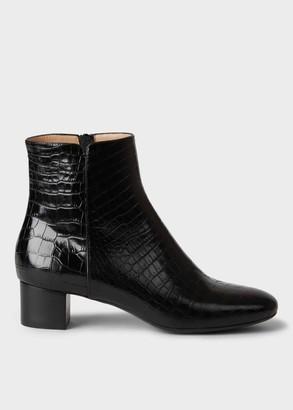 Hobbs Sadie Crocodile Block Heel Ankle Boots