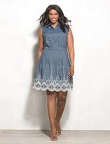 dressbarn Plus Size Embroidered Denim Dress