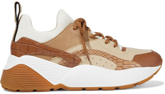 Stella McCartney Eclypse Neoprene, Faux Suede And Leather Exaggerated-sole Sneakers