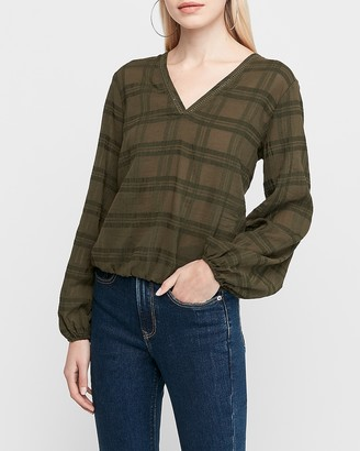 Express Plaid V-Neck Banded Bottom Top