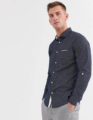 Selected salford slim long sleeve shirt-Blue