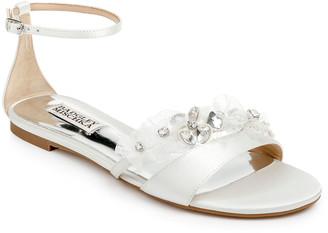 Badgley Mischka Candace Floral Satin Flat Sandals