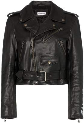 Balenciaga shrunken graffiti leather jacket