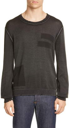 John Varvatos Distressed Geo Stamp Sweater