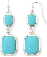 Liz Claiborne Teal Silver-Tone Double-Drop Earrings