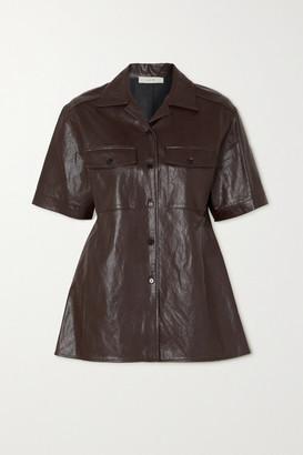 LVIR Faux Leather Shirt - Brown