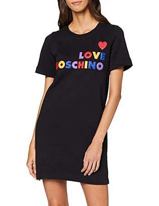 Love Moschino Women's Short Sleeve Dress_Heart and Multicoloured Embossed Logo Print,14 (Size: )