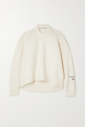 Alexander Wang Embroidered Wool-blend Sweater - Ivory