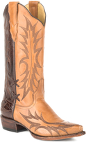 Stetson Brown & Burnished Sorrel Stitched Leather Cowboy Boot