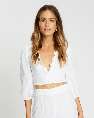 Aere Lace Trim Volume Sleeve Linen Top