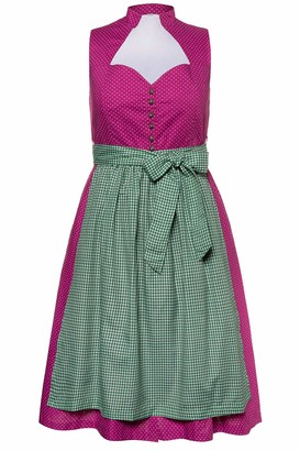 Ulla Popken Women's Plus Size Polka Dot Dirndl Dress Cherry Blossom Pink 36 723853 57-62