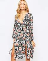 Love V Front Midi Dress in Allover Print
