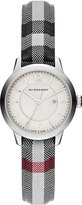 Burberry 32mm Classic Round Watch w/ Check Fabric Strap, Silver