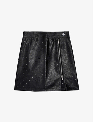 Topshop Stud-detail mid-rise faux-leather mini skirt