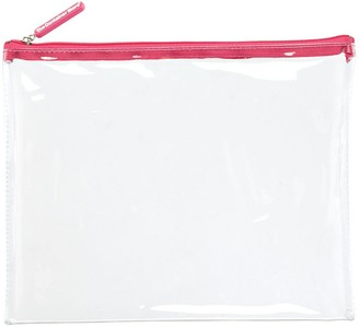Container Store Large Medium Pink Zippered Clear Pouch