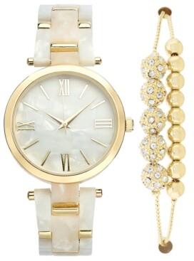 INC International Concepts Inc Women's Gold-Tone & Mother-of-Pearl Bracelet Watch 38mm & Slider Bracelet Set, Created for Macy's