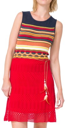 Desigual Women's Sarona Flat Knitted Sleeveless Dress Burgundy L