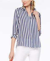 INC International Concepts I.n.c. Petite Striped Button-Front Top, Created for Macy's