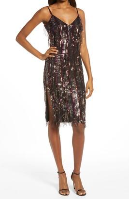 Dress the Population Yvonne Sequin Fringe Midi Dress