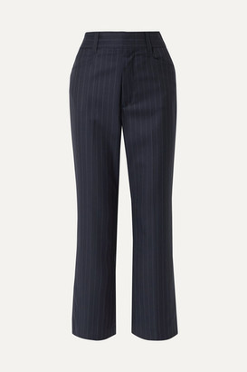 RE/DONE 70s Cropped Pinstriped Wool Bootcut Pants - Navy