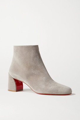 Christian Louboutin Turela 55 Suede Ankle Boots - Light gray