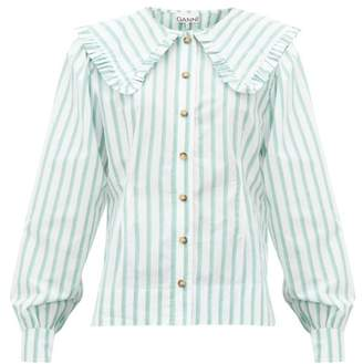 Ganni Ruffled Collar Striped Cotton-poplin Shirt - Womens - White Multi