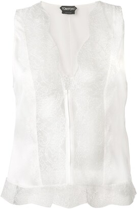 Tom Ford Lace Panel Sleeveless Blouse