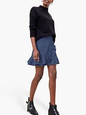 Oasis Chambray Denim Mini Skirt, Dark Wash Blue