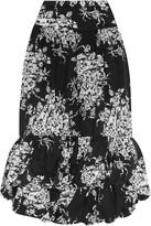 Sonia Rykiel Tiered Floral-print Cotton Midi Skirt - Black